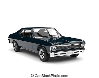 Midnight blue vintage muscle car
