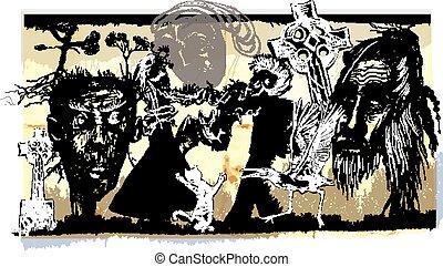 midnight dancers, voodoo night - an hand drawn vector