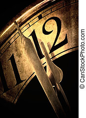 Clock showing two minutes to midnight. Golden hues, with grunge effects