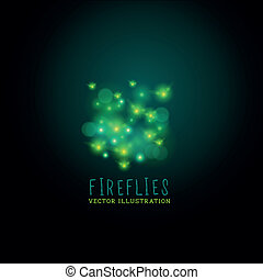 Midnight Fireflies. A group of glowing fireflies at night,...