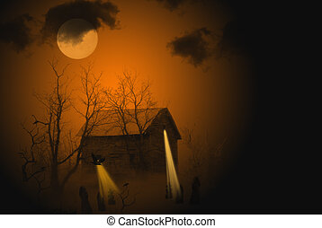 Midnight Madness - Haunting glow over old shed.