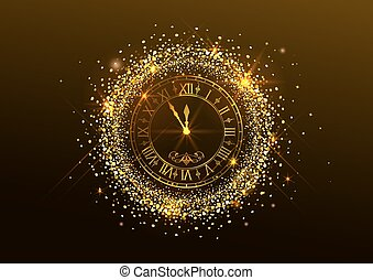 Midnight New Year. Clock with Roman numerals and gold confetti on dark background. Illustration in vector format