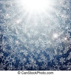 Midnight of Christmas snowflakes time with sun burst effect background.