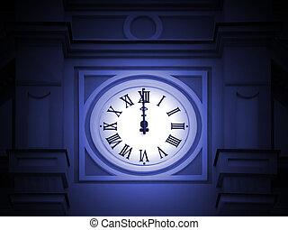 Old tower clock is at twelve