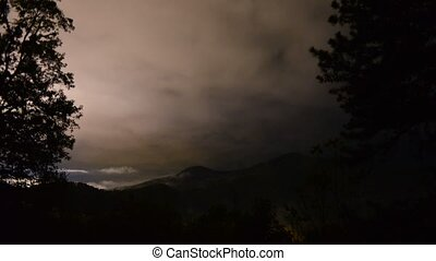 midnight on blue ridge parkway with fog and clouds timelapse