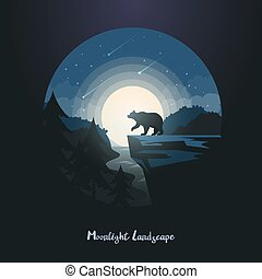 Midnight or night landscape with bear on rock