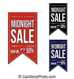 Midnight sale banner design set