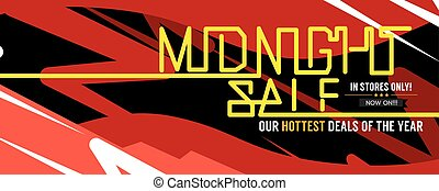 Midnight Sale Hottest Deal Wide Banner For Advertising Marketing Promotional Vector Illustration