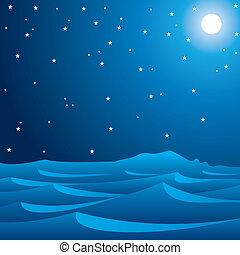 midnight scene of desert