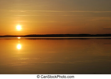 A beautiful midnight sun in northern of Sweden