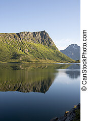 Panorama with midnight sun at Eggum at Lofoten in Norway