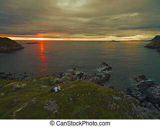 Midnight sun on Vesteralen islands in Norway