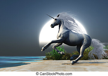 Midnight Unicorn - A magical white unicorn prances onto a...