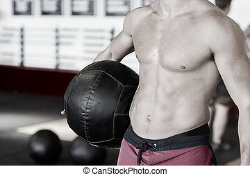 midsection, de, shirtless, treinador, com, medicina, bola
