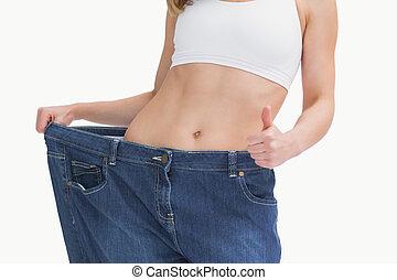 midsection, közül, nő, fárasztó, öreg, nadrág, után, fogyás,...