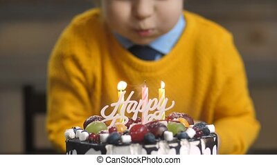 Midsection of toddler boy blowing candles on cake