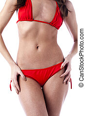 midsection of woman in red underwear