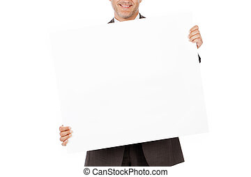 smiling businessman showing white paper