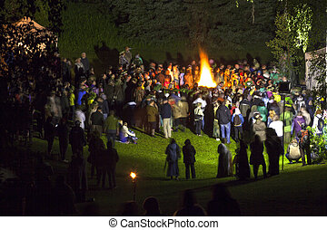 Midsumer or John's eve celebration in Latvia - People...