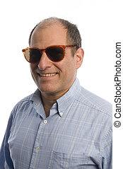 midte ældes, sunglasses, mand