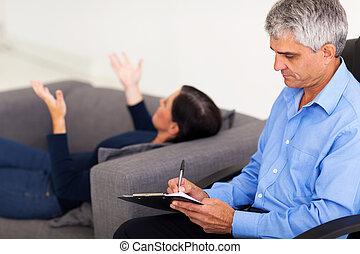 midte ældtes, terapeut, rådgivende, patient
