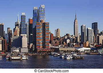 midtown曼哈顿, cityscape, 从, hudson 河