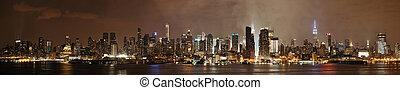 midtown, 地平線, 曼哈頓, 夜晚
