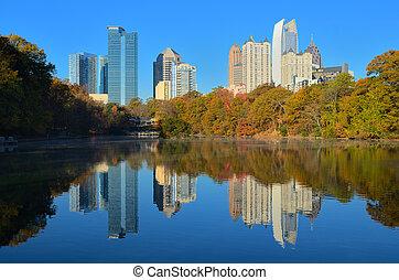 Midtown Atlanta, Georgia viewed from Piedmont Park in the...