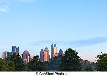 Midtown city skyline from Piedmont Park, Atlanta