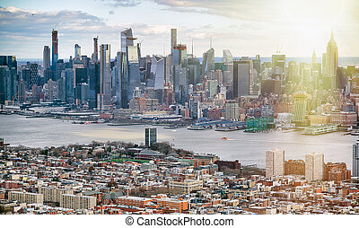 Midtown Manhattan and Jersey City from helicopter.