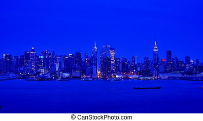 Midtown Manhattan time lapse viewed from across the Hudson River in New York City.