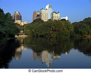 Midtown Reflection in Clara Meer, Piedmont Park Atlanta