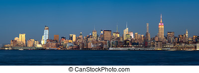 midtown, vest, manhattan, belyst, skyskrabere, hos, halvmørket, ny york city