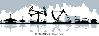 Midway Amusement Rides - Skyline silhouette of amusement...