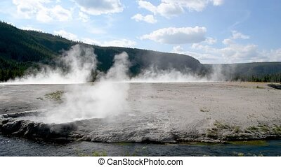 Midway Geyser Basin, Yellowstone National Park, Wyoming, USA. Slow Motion