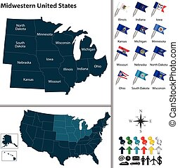 Midwestern United States - Vector set of Midwestern United...