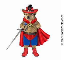 miecz, czerwony pies, płaszcz, bohater