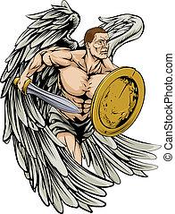 miecz, i, tarcza, anioł