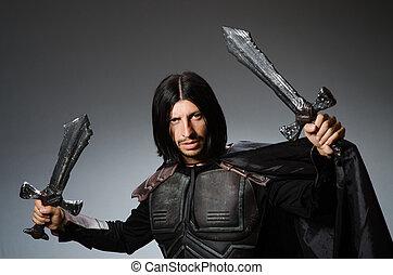 miecz, rycerz, gniewny, przeciw, ciemne tło