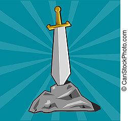 miecz, wetknięty, do, kamień