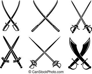miecze, sabres, i, longswords, komplet