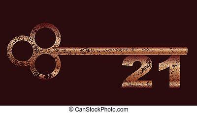 miedź, brudny, klucz, 21