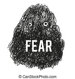 miedo, monstruo, ilustración