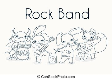 miedoso, animales, roca, band., lindo, niños, música, illustration.