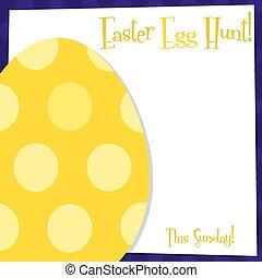 miedoso, huevo de pascua, tarjeta, en, vector, format.