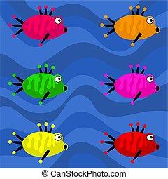 miedoso, retro, pez