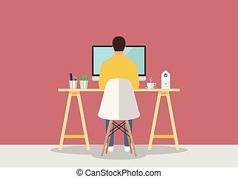 miejsce pracy, komputer, nowoczesny, pracujący, styl, człowiek