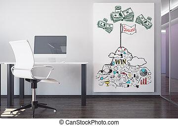 miejsce pracy, z, powodzenie, rys