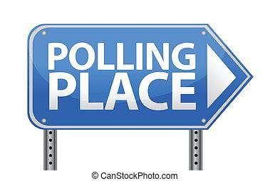 miejsce, projektować, głosowanie, ilustracja, znak