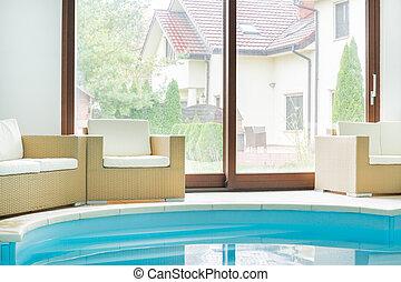 miejsce zamieszkania, wnętrze, nowoczesny, kałuża, pływacki